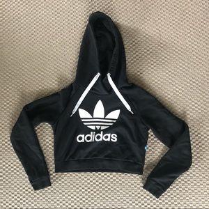 "Adidas cropped black sweatshirt hoodie size ""XS"""
